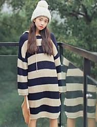 Damen Standard Pullover-Lässig/Alltäglich Einfach Gestreift Blau Rot Rundhalsausschnitt Langarm Baumwolle Herbst Mittel Mikro-elastisch