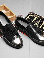 Men's Loafers & Slip-Ons Comfort Leather Casual Black Silver