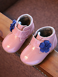 Baby Girl's Boots Fall Winter Other Comfort Patent Leather Casual Flat Heel Flower Magic Tape Black Pink Gray