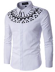Men's Casual/Daily Simple All Seasons Shirt,Geometric Standing Collar Long Sleeve Cotton Medium