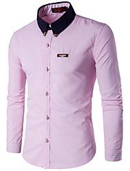 Masculino Camisa Tamanhos Grandes / Formal / Trabalho Simples Outono / Inverno,Colorido Azul / Rosa / Vermelho / Branco / Amarelo / Roxo