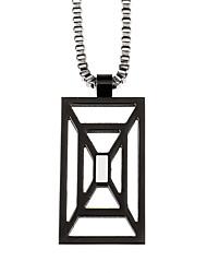 Fashion Men's Square 316L Stainless Steel Hollow Pendant Necklace Jewelry