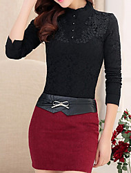 Women's Formal / Work Vintage  / Plus Size/Sophisticated Winter / Autumn ShirtSolid / Embroidered High Neck Long Sleeve / Tops