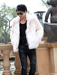Men's Plus Size Street chic Fur Coat,Solid Shirt Collar Long Sleeve Winter White / Black / Brown Faux Fur Thick