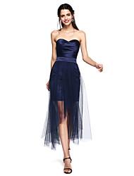 TS Couture® Cocktailparty Kleid - Transparent Eng anliegend Herzausschnitt Asymmetrisch Satin / Tüll mitSchärpe / Band / Horizontal