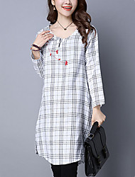 Women's Slim chic A Line DressCheck / Embroidered Round Neck Knee-length Long Sleeve White / Black / Gray Cotton / Linen Fall