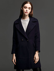 ANGEL Women's Casual/Daily Simple CoatSolid Notch Lapel Long Sleeve Fall / Winter Blue Wool / Nylon Thick
