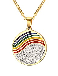 Men's Necklace Pendant Necklaces Jewelry  Rainbow Round Party/Daily/Christmas/Casual Fashion Stainless Steel/Gold Plated/Rhinestone Multicolor1pc Gift