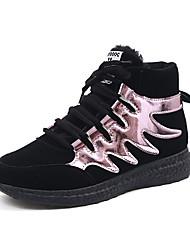 Women's Sneakers Winter Comfort PU Casual Flat Heel Lace-up Pink / Silver Walking