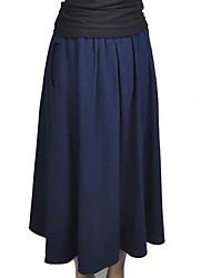 Women's Midi Skirts,Street chic Swing Pleated Solid