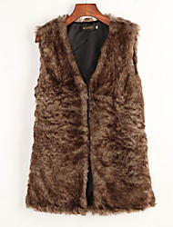 Women's Going out / Casual/Daily Western Style Street chic Fashion Fur Vest Coat,Solid Sleeveless Faux Fur