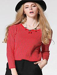 Damen Standard Strickjacke-Ausgehen Lässig/Alltäglich Party/Cocktail Retro Street Schick Anspruchsvoll Solide Blau Rot Grau