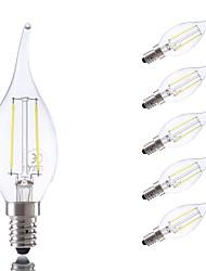 2W E14 Lâmpadas de Filamento de LED B 2 COB 250 lm Branco Quente / Branco Frio AC 220-240 V 6 pçs
