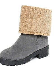Women's Boots Fall Winter Platform Other Comfort Suede Fur Outdoor Dress Casual Chunky Heel Platform Others Black Gray Walking