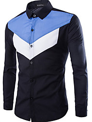 Men's Casual/Daily Simple Shirt,Color Block Shirt Collar Long Sleeve Blue / Red / White / Black / Green Cotton