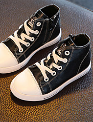 Boy's Sneakers Fall Comfort Leather Casual Flat Heel Lace-up Black / White Sneaker