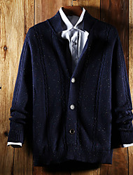 Men's Going out Vintage Street chic Regular Cardigan,Solid Blue V Neck Long Sleeve Cotton All Seasons Medium Micro-elastic