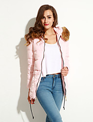 Women's Solid Blue / Pink / Black / Gray / Green Padded Coat,Street chic Hooded Long Sleeve