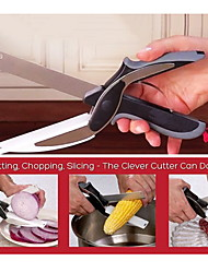 Stainless Steel Clever Cutter Kitchen Scissors with Sharp Knife Blade Cutting Board Kid Food Cutter