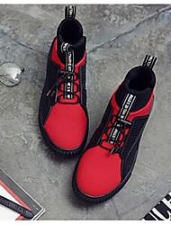 Masculino-Tênis-ConfortoPreto e Vermelho-Tecido-Casual