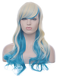Anime Cosplay Lolita Wig High Quality Long Wavy Women Blonde With Blue Ombre Heat Resistant Synthetic Wig Popular Style Natural Looking Daily Wig