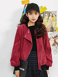Damen Solide Einfach Lässig/Alltäglich Jacke,Winter Langarm Blau / Rot Mittel Polyester