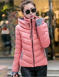 Women's Solid Blue / Pink / Red / White / Black / Green / Yellow Padded Coat,Simple Hooded Long Sleeve Down Jacket