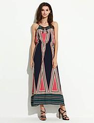 Women's Boho Beach Boho Loose Dress,Color Block Strap Maxi Sleeveless Blue Cotton Summer