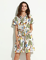 Women's Going out Vintage Loose Dress,Rainbow Stand Above Knee Short Sleeve Multi-color Cotton Summer