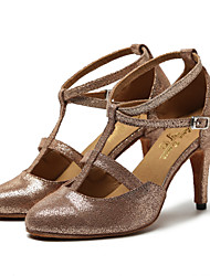Non Customizable Women's Dance Shoes Fabric Fabric Latin / Jazz Heels Stiletto Heel Professional / Performance Gold
