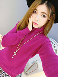 Damen Standard Pullover-Ausgehen Party/Cocktail Retro Street Schick Anspruchsvoll Solide Rosa Gelb Ständer Kurzarm BaumwolleFrühling