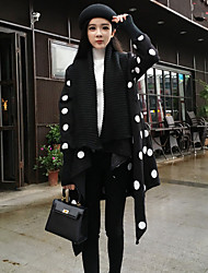 Women's Casual/Daily Simple Coat,Polka Dot Boat Neck Long Sleeve Fall Black Polyester