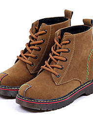 Women's Leather Boots Comfort Combat Boots Casual High Top Shoes Retro Suede Boots Low Heel Lace-up More Color