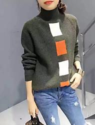 Feminino Padrão Pulôver,Trabalho / Férias estilo antigo / Moda de Rua / Sofisticado Estampado Colorido Colarinho Chinês Manga Longa