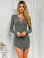 Women's Casual/Daily Sexy Bodycon / Sheath Dress,Striped V Neck Mini Long Sleeve Gray Cotton Summer Low Rise Micro-elastic Medium