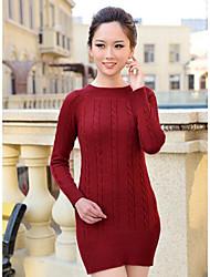 Damen Lang Pullover-Lässig/Alltäglich Einfach Solide Rot Schwarz Grau Rundhalsausschnitt Langarm Polyester Herbst Mittel Mikro-elastisch