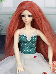 Fashion Doll Hair Long Kinky Curly Medium Auburn Color 1/3 1/4 BJD SD DZ Doll Wig Accessories Not for Human Adult