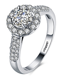 Luxury AAAAA Level CZ Engagement Wedding Ring Pure Solid Platinum Plated Jewelry For Women