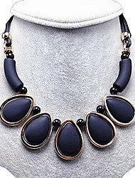 Necklace Obsidian Collar Necklaces Jewelry Wedding / Party / Daily Teardrop Acrylic / Tassels Acrylic Women 1pc Gift Black
