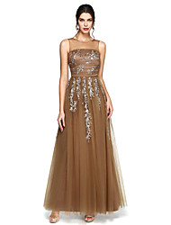 TS Couture Prom Formal Evening Dress - Elegant A-line Jewel Floor-length Tulle with Appliques Beading Ruching