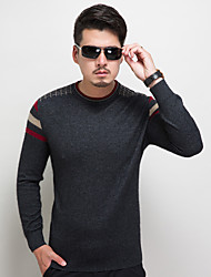 Men's Going out Party/Cocktail Holiday Vintage Street chic Sophisticated Regular Pullover,Solid Multi-color Round Neck Long Sleeve Cotton