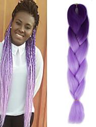 "Dark Purple Ombre Light Purple Crochet 24"" Yaki Kanekalon Fiber 100g 2 Tone Jumbo Braids Synthetic Hair"