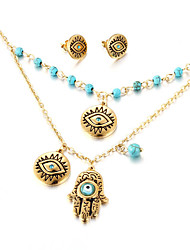 Kalen Vintage Evil Eyes Costume Jewelry Sets Fashion Stainless Steel 18K Dubai Gold Plated Eyes Pendant Necklace and Earrings Sets For Girls Women