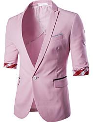 Hommes,Couleur Pleine Décontracté / Quotidien / Travail / Soirée / Cocktail simple Eté Manches ¾ Col de Chemise Rose Coton / Polyester