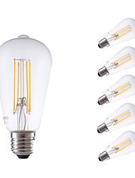 6W E26/E27 Ampoules à Filament LED ST64 4 COB 600 lm Blanc Chaud Gradable / Décorative AC 100-240 V 6 pièces