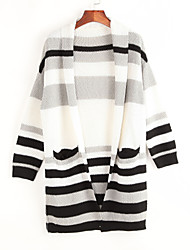Women's Casual/Daily Street chic Slim Long Cardigan,Striped Black Cowl Long Sleeve Fall Medium