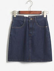 Women's Bodycon Solid Denim Skirts,Casual/Daily Simple Mid Rise Knee-length Zipper Cotton Micro-elastic Summer