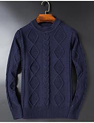 Masculino Padrão Pulôver,Casual Simples Sólido Azul / Preto Decote Redondo Manga Longa Lã Inverno Grossa Micro-Elástica