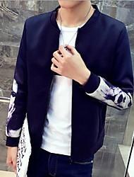 Herren Solide Einfach Lässig/Alltäglich / Übergröße Jacke,Herbst Ständer Langarm Blau / Rot / Weiß / Schwarz Mittel Polyester