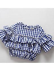 Girl Casual/Daily Plaid Shirt,Cotton Spring Half Sleeve
